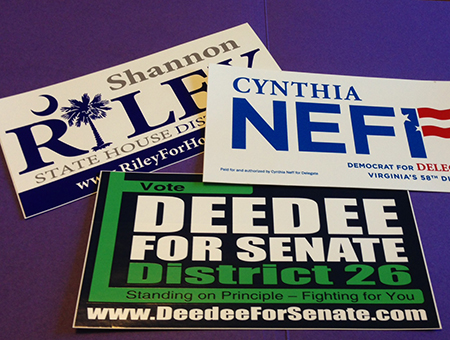 Ask about our new full color bumper stickers to go with campaign yard signs