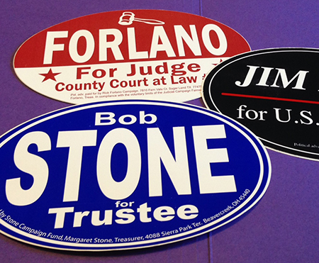 Standard Political Bumper Stickers (4″ x 6″ Oval)