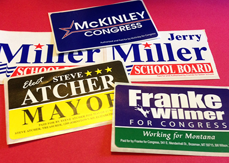 Political Lapel Stickers (2″ x 3.5″ Rectangle)