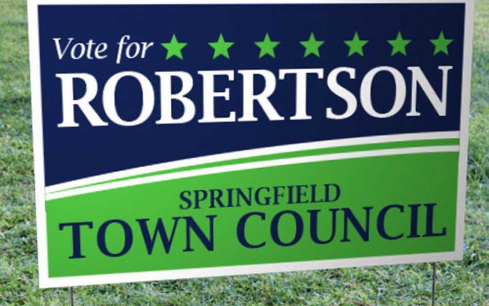 "FREE SHIPPING!* Stapled Foldover Yard Signs (14"" x 28"")"