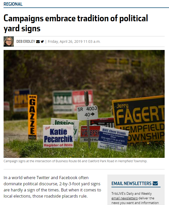hempfield campaign yard signs story
